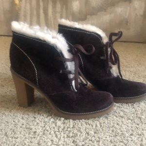 BCBG suede booties with fur trim size 8 1/2